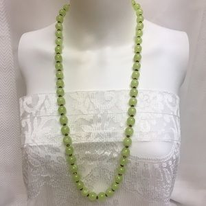 Green Beaded Necklace Vintage